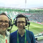 Die Stadionreporter Wolfgang Slavik und Sebastian Aster